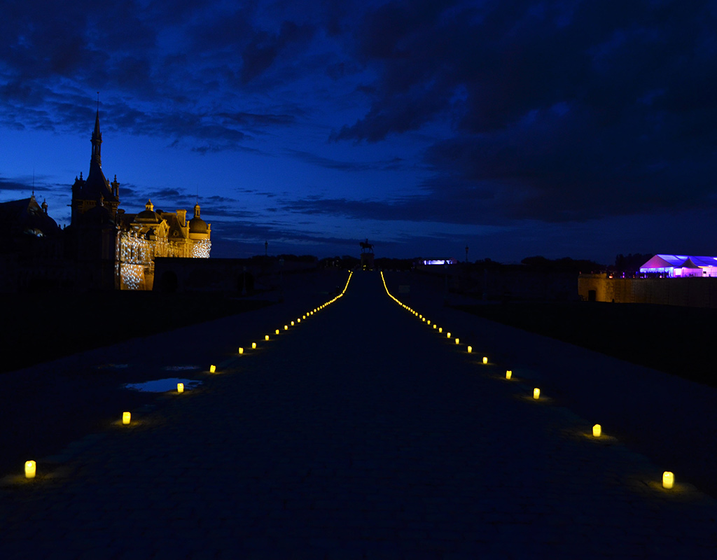 Perspective chantilly chateau nuit evenement